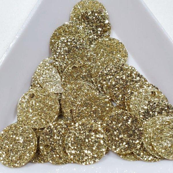 画像1: スパンコール1249 トップホール10mm ゴールド 1g (1)